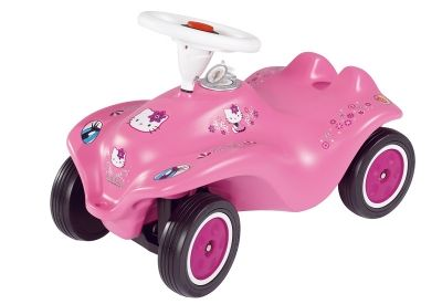 Hello Kitty Bobby Car by BIG Ride-on car for 1+  These cars are a German classic and given for first birthdays. Fantastic quality, built to last, great to ride, fun plus it builds up the toddlers strength in their legs and is great exercise. You can buy loads of accessories including a handle to push, plastic shoes to go over the toddlers shoes so as not to scuff them up, number plates etc