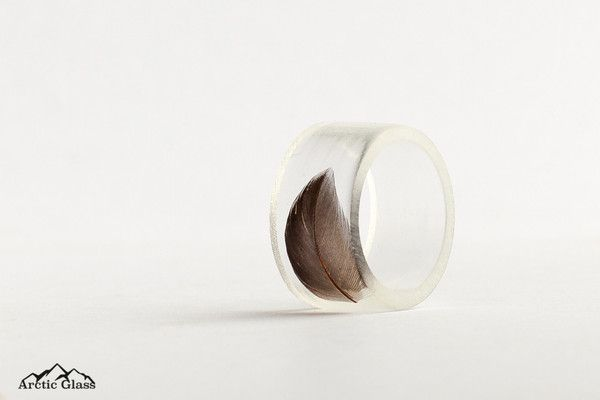 Black Feather Ring - Arctic Glass - 2