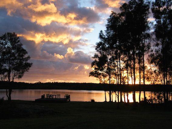 The River Shack - Yamba accommodation - Byron Bay - waterfront property - sunset view