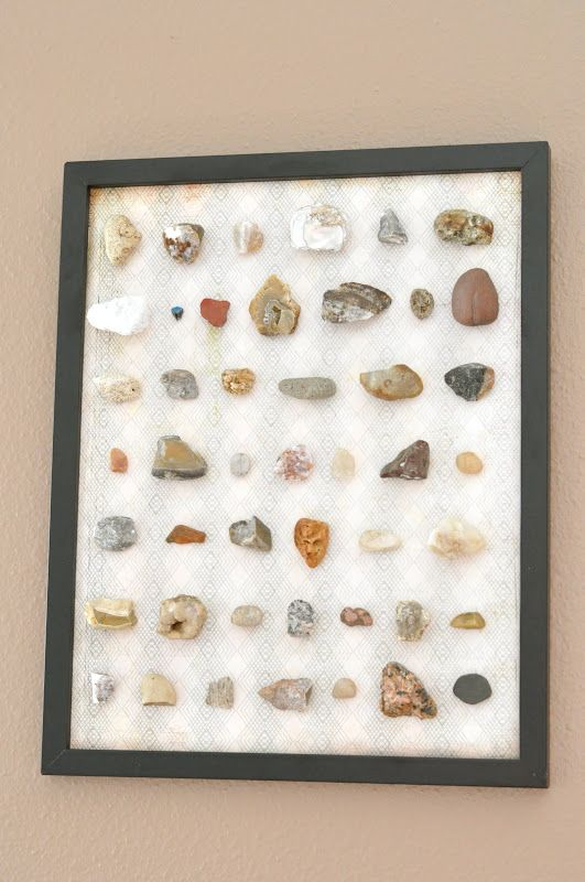 Make a framed rock collection tutorial {crafting with boys}  Sam will love this.  I think he could add bottle caps to it too.  Plus, then I don't have a bag full of rocks that gets dumped out and he gets to look at them better and appreciate them more!