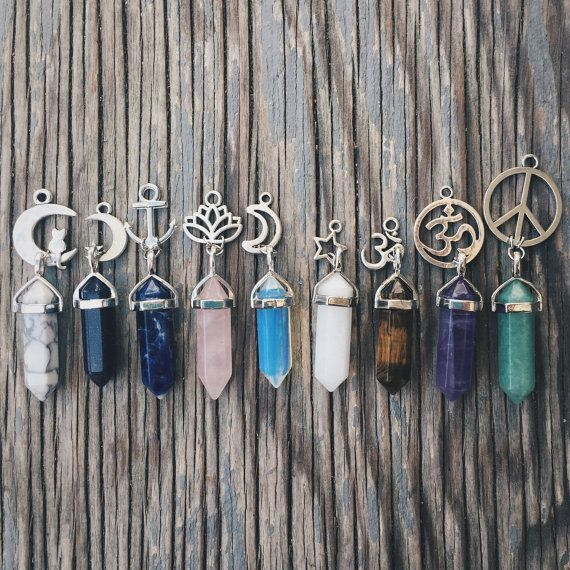 Crystal Quartz Charm Necklaces Jewellery Chokers - Rose Quartz Amethyst Opalite Sandstone Reiki Chakra Boho Bohemian Hippie Tumblr Jewelry