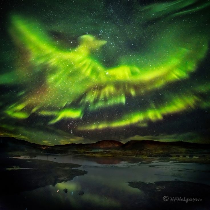 A Phoenix Aurora over Iceland ... with river, mountains and stars near Reykjavik ----- Sept. 2015 image by Hallgrimur P. Helgason;