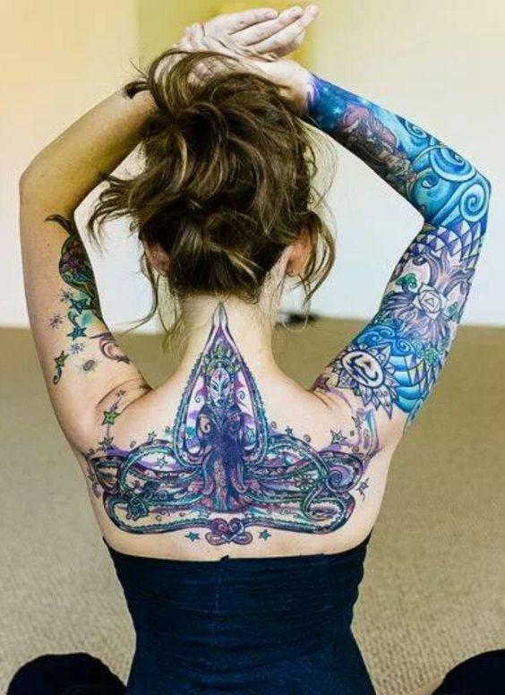 Goddess Spine Tattoo: Goddess Durga Spiritual Tattoo On Upper Back And Arm