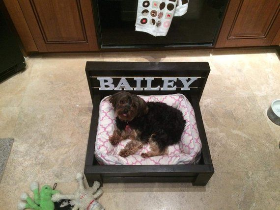 Small Dog Bed Rustic Wood Raised Wooden