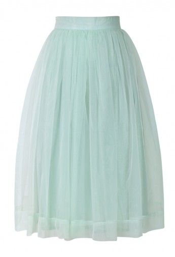 Mint Organza Midi Skirt - Skirt - Bottoms - Retro, Indie and Unique Fashion