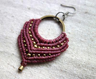Ecocrafta Macrame : Macrame earrings - Gypsy pink
