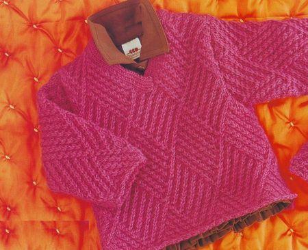 Красивый рельефный узор для детского свитера спицами с ромбиками. Схема узора и описание вязания.