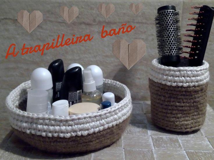 cestas de baño de yute y trapillo