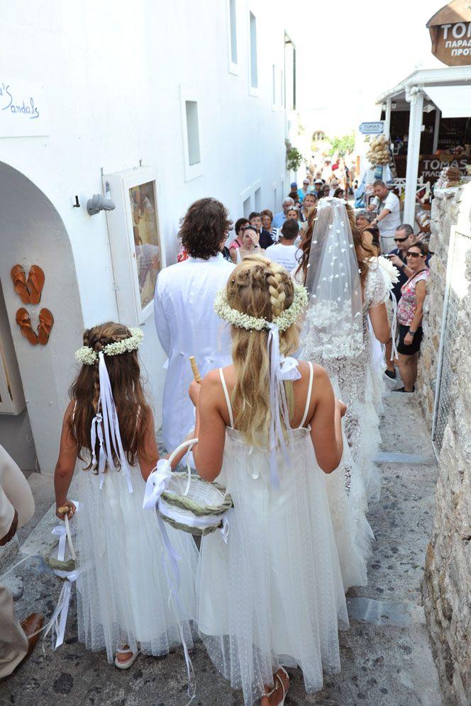 Greek wedding Walking to the Church