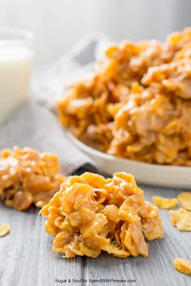Peanut Butter Cornflakes No Bake Cookies are an easy and sweet treat! Everyone will love these chewy, sweet, and salty cookies that are ready in no time at all!