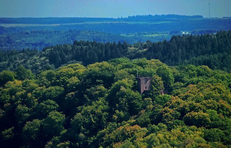 """Noch ein bisschen trüb, ... aber man sieht sie doch. Die Burg Montclair. Und Wanderer kennen sowieso kein schlechtes Wetter.  <a href=""""http://de.wikipedia.org/wiki/Burg_Montclair"""">http://de.wikipedia.org/wiki/Burg_Montclair</a>"""