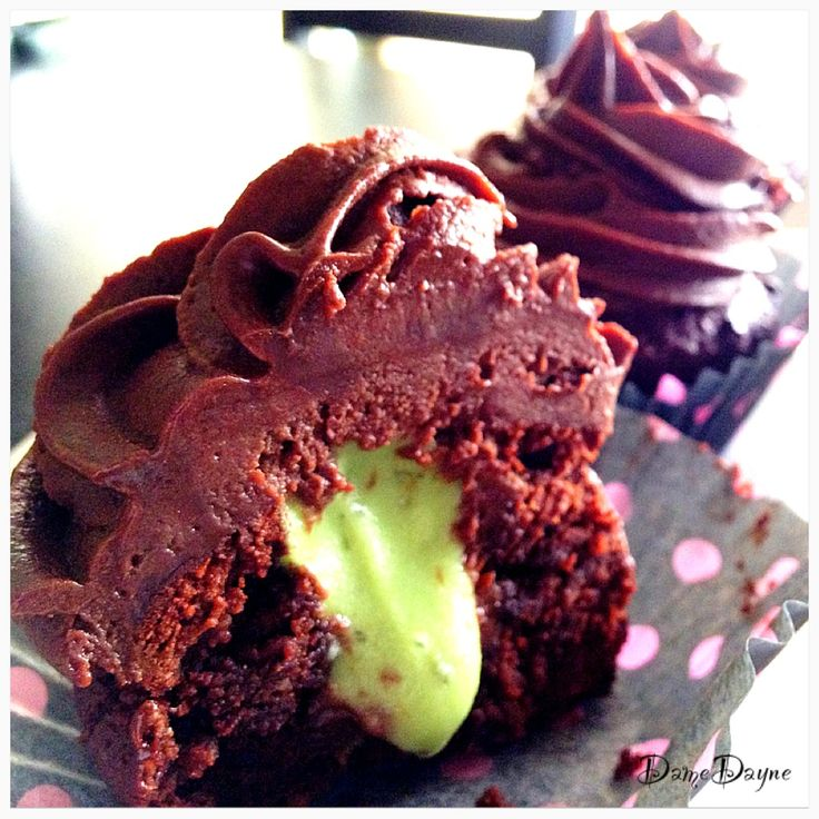 Paleo Chocolate Cupcakes with Mint Macha Filling and Chocolate Frosting
