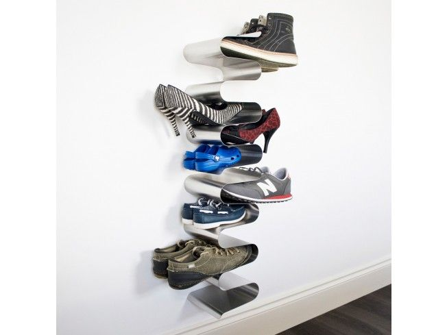 this stainless steel wall mounted vertical shoe rack keeps all your pairs of shoes well and