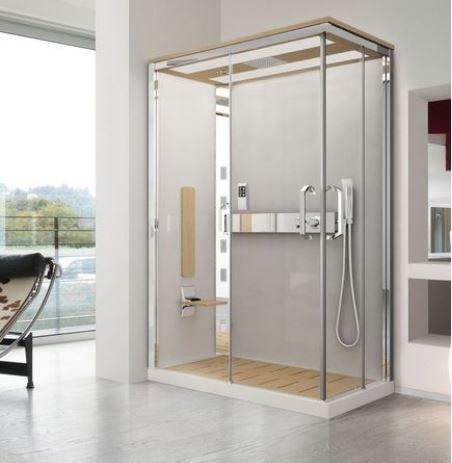 Cabine de douche Nexis de Novellini de forme rectangulaire est une luxueuse cabine comprenant différentes options. Dotées de buses hydromassantes et d'une fonction hammam pour faire de votre douche un véritable moment de bien-être.