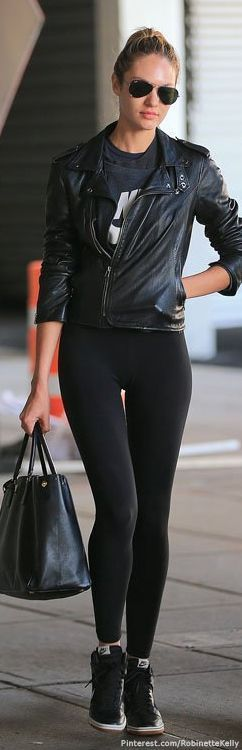 leather jacket + athletic wear