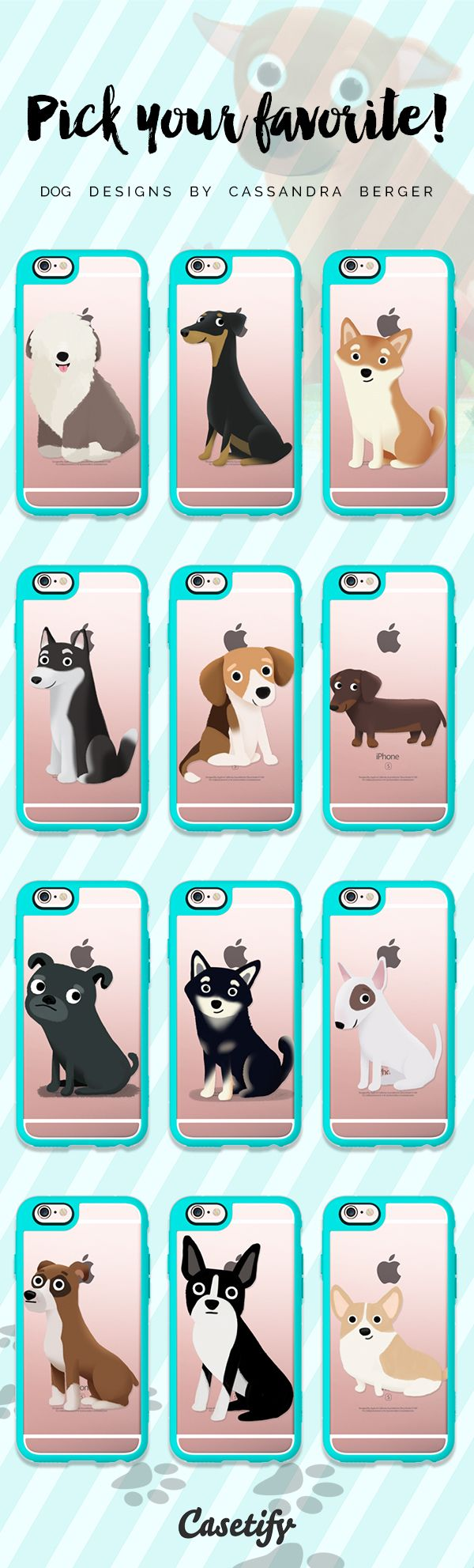 Which dog type is your favourite? Click through to see more iPhone 6 case dog designs by @cassandrabg >>> https://www.casetify.com/cassandragibbons/collection #animal | @casetify