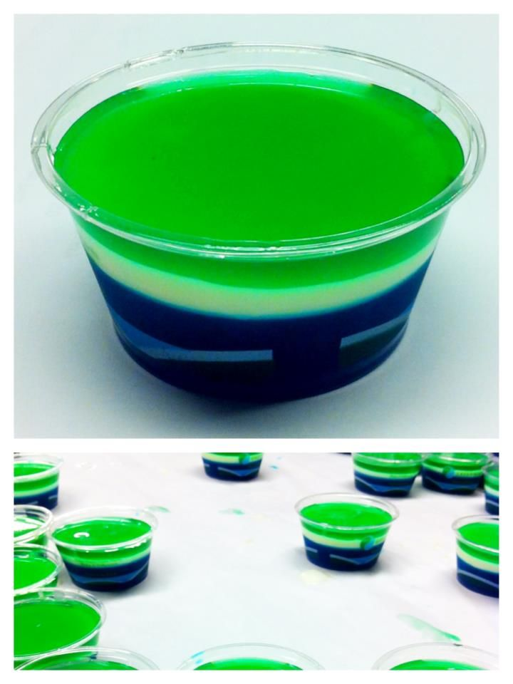 Seahawk jello shots.  I seriously think someone should make these for the Super Bowl party!