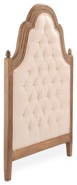Kathryn Natural Linen Oak French Country Twin Headboard - traditional - Headboards - Kathy Kuo Home