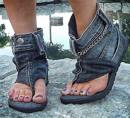 Cool Recycled Denim Sandal Boots