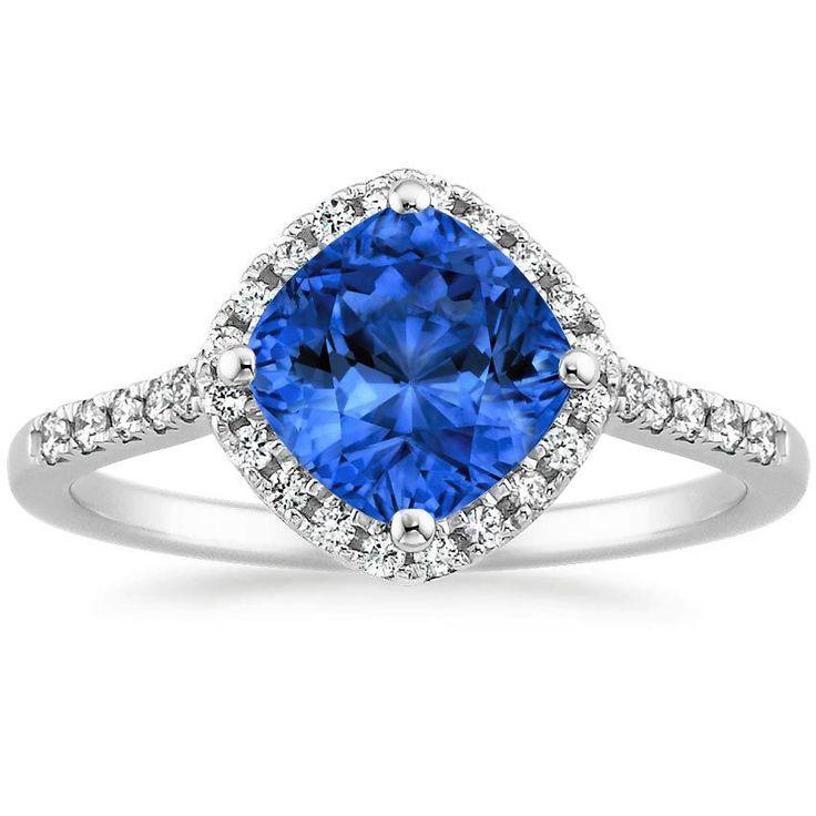 18K White Gold Sapphire Cometa Diamond Ring (1/4 ct. tw.), top view