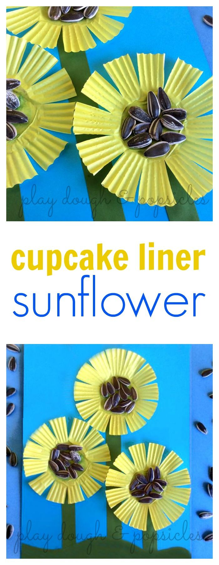 These Cupcake Liner Sunflowers are a fun craft for kids.                                                                                                                                                                                 More