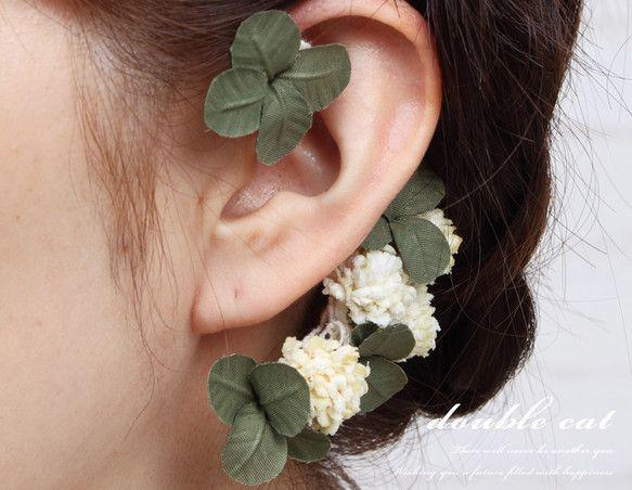 minne(ミンネ)| 『布花』幸せを呼ぶシロツメ草と四葉のクローバーのイヤーフック