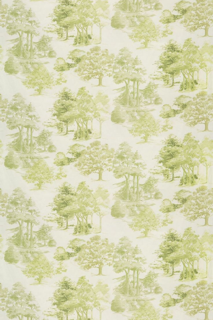 Grangewood Willow (2904/629) - Prestigious Fabrics - A pretty green parkland design with all over pattern of trees in separate scenes.  Cotton linen mix. Please request sample for true colour and texture.