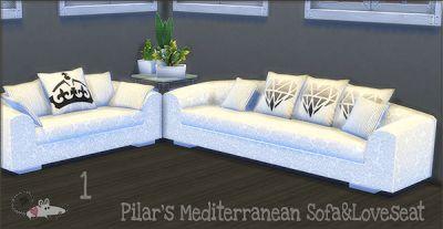 My Sims 4 Blog: Pilar's Mediterranean Sofa, Love Seat and Shelves by LoveratSims4