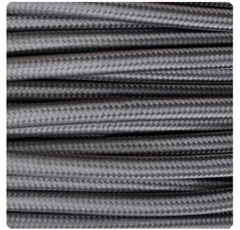 Cable Eléctrico Textil Color Gris Medio #iluminacion #decoracion #interiorismo #lamparas