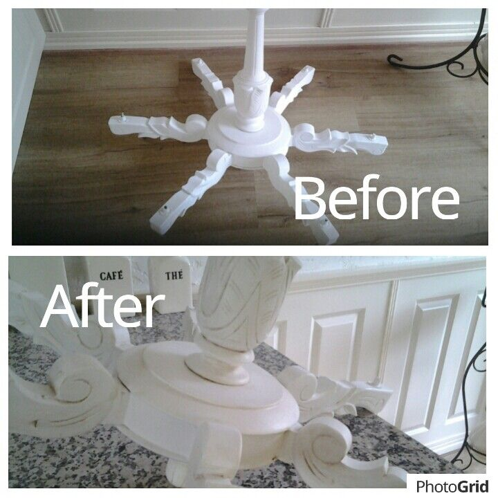 Oude lamp gerestyld met krijtverf en dan in de blanke was gezet , daarna de details met donkere was gedaan!