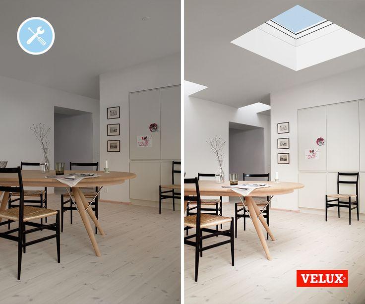 #Makeover ideeën: Van donkere ruimte naar lichte leefkeuken, wat een prachtige case is dit weer! Laat het daglicht binnen met een VELUX lichtkoepel. Meer weten over deze ideale daglichtoplossing voor jouw aan- of uitbouw? http://www.velux.nl/producten/lichtkoepels-en-plat-dak-producten/lichtkoepel-integra