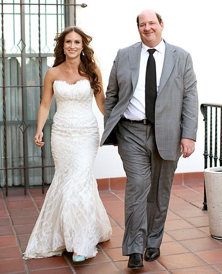 """The Office"" star Brian Baumgartner wed Celeste Ackelson in L.A. 4/26/14.  He toasted w/Crown Royal XO, w/help of former NBC costars John Krasinski & wife Emily Blunt, Jenna Fischer, Angela Kinsey, & Oscar Nunez."