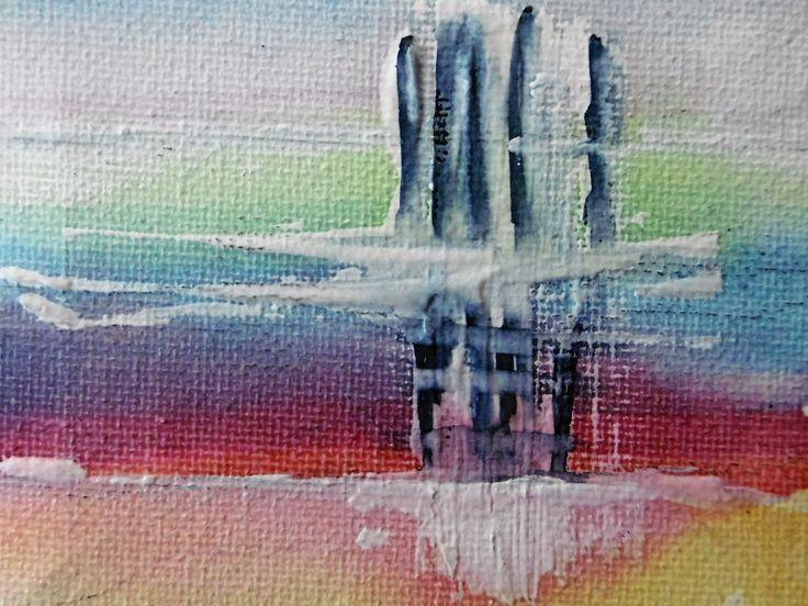 """mini tableau abstrait """" marine """" aquarelle sur chassis toile : Peintures par danyrocherleroi"""