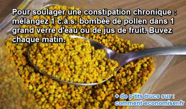 En cas de constipation chronique, il y a un remède naturel qui peut vous aider... Il s'agit du pollen. Effet magique garanti. Découvrez l'astuce ici : http://www.comment-economiser.fr/pollen-constipation-chronique.html?utm_content=buffered57b&utm_medium=social&utm_source=pinterest.com&utm_campaign=buffer