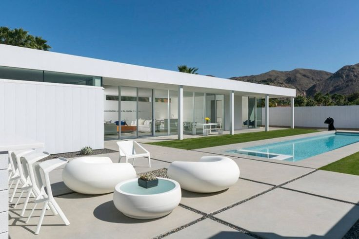 outdoor lounge chair rectangular tiles covered patio round table white house of Getting Inspired by 10 Stunning Ideas of Modern Swimming Pool