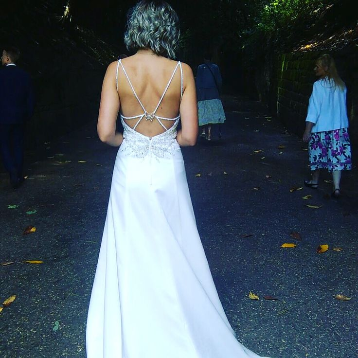 "Rear view of the Diana harbridge ""violet"" wedding gown"