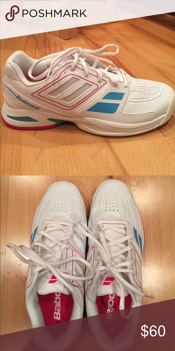 Babolat tennis shoes Women's babolat tennis shoes worn once size 7! In great condition! Shoes Athletic Shoes