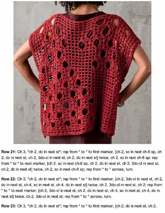 Grace y todo en Crochet: TUNICA ROJA RECTANGULAR...RECTANGULAR RED TUNIC...