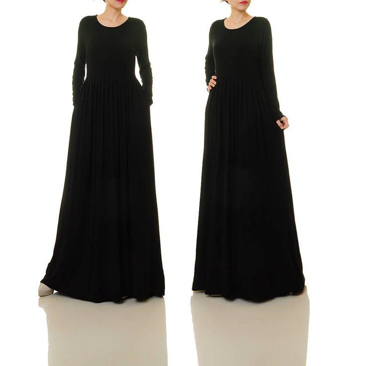 Long Black Dress Long Sleeve | Black Maxi Dress | Knit Dress With Pockets | Black Abaya Maxi Dress | Black Dress Plus Size With Sleeves 6496 by Tailored2Modesty on Etsy