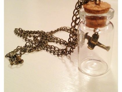 Plane in a Bottle Necklace