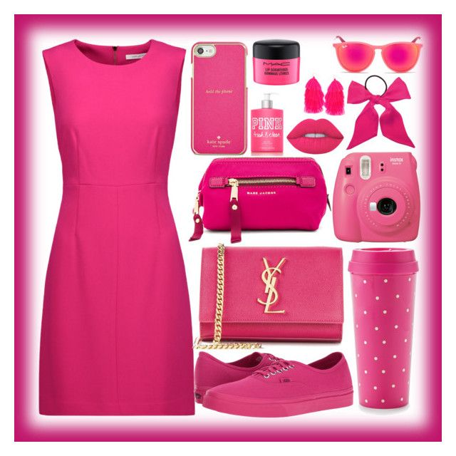 """""""#PINK"""" by mileyharbee on Polyvore featuring Diane Von Furstenberg, Yves Saint Laurent, Vans, Kate Spade, Fujifilm, Ray-Ban, L. Erickson, Marc Jacobs, Lime Crime and MAC Cosmetics"""