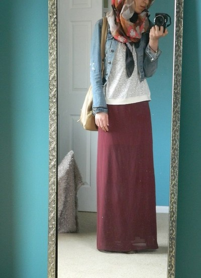 I have a maroon skirt and a wore it today with a jean vest that color.