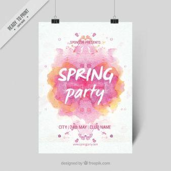 Bonito cartel de primavera con una salpicadura rosa de acuarela