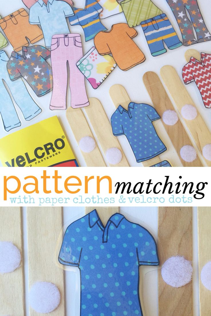 PATTERN MATCHING | a simple busy bag idea | laminated paper clothes + velcro dots + paddle pop sticks | match tops with bottoms or mix them up, dress family members by adding head shots or match clothes to a season! | @oliviasfoster