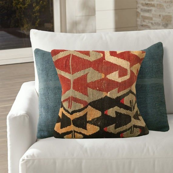 Orange Gray Black Small Sofa Pillows 12x12 Patterned Throw Pillow Colorful Decor Accent Pillow Case Kilim Pillow Covers Wool Cushion Orange Gray Black