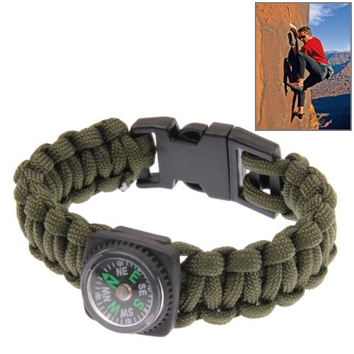 Multi-functional Nylon Braided Survival Bracelet with Compass (Army Green)