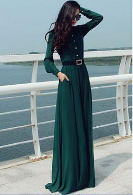 Kaftan Abaya Jilbab Islamic Muslim Cocktail Women Long Sleeve Vintage Maxi Dress