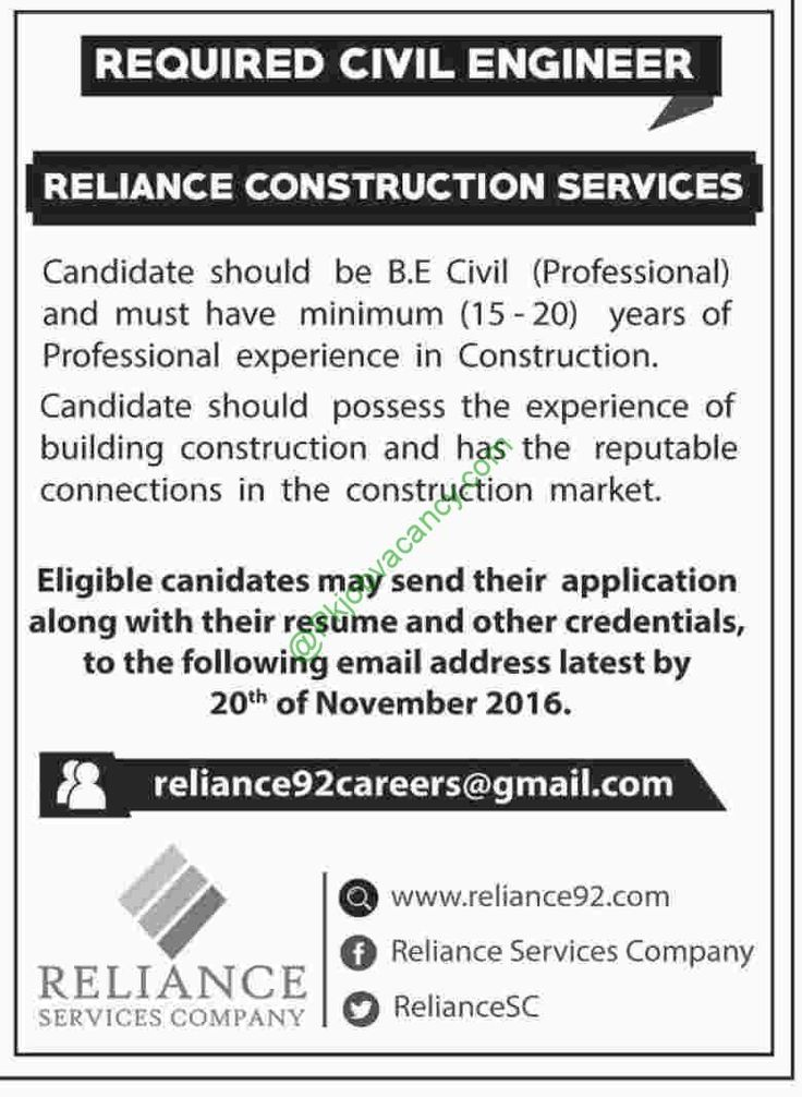 Reliance Construction Services Jobs, Civil Engineer, November 2016 - shuttle driver resume