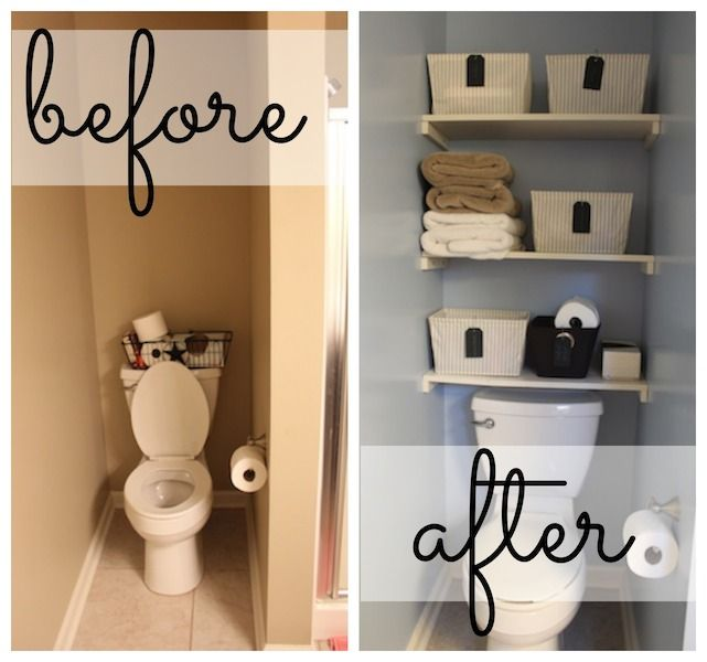 Maximize your storage space in the bathroom with some easy DIY shelving. Perfect for small bathrooms! Via  A Bowl Full of Lemons