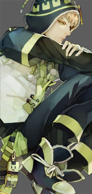 Tags: Anime, Lip Piercing, Gray Background, DRAMAtical Murder, Noiz (DMMd), Memipong